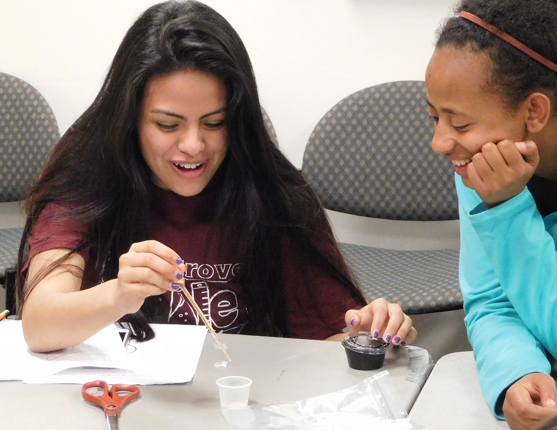Students at High School Challenge testing bioplastic film