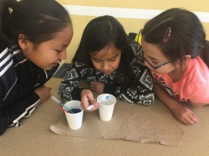 Three elementry students watch gel polymers form in classroom activity.