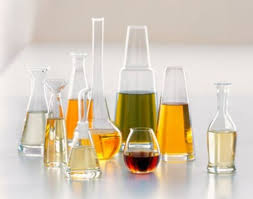 Flasks and beakers with various solutions.