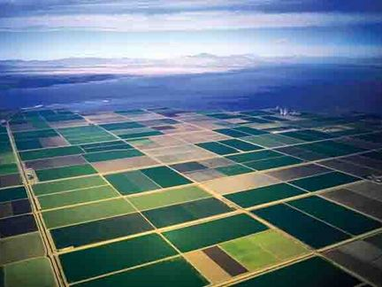 Aerial photo of part of the farmlands, desert, and mountains of Imperial County, Salton Sea, California.