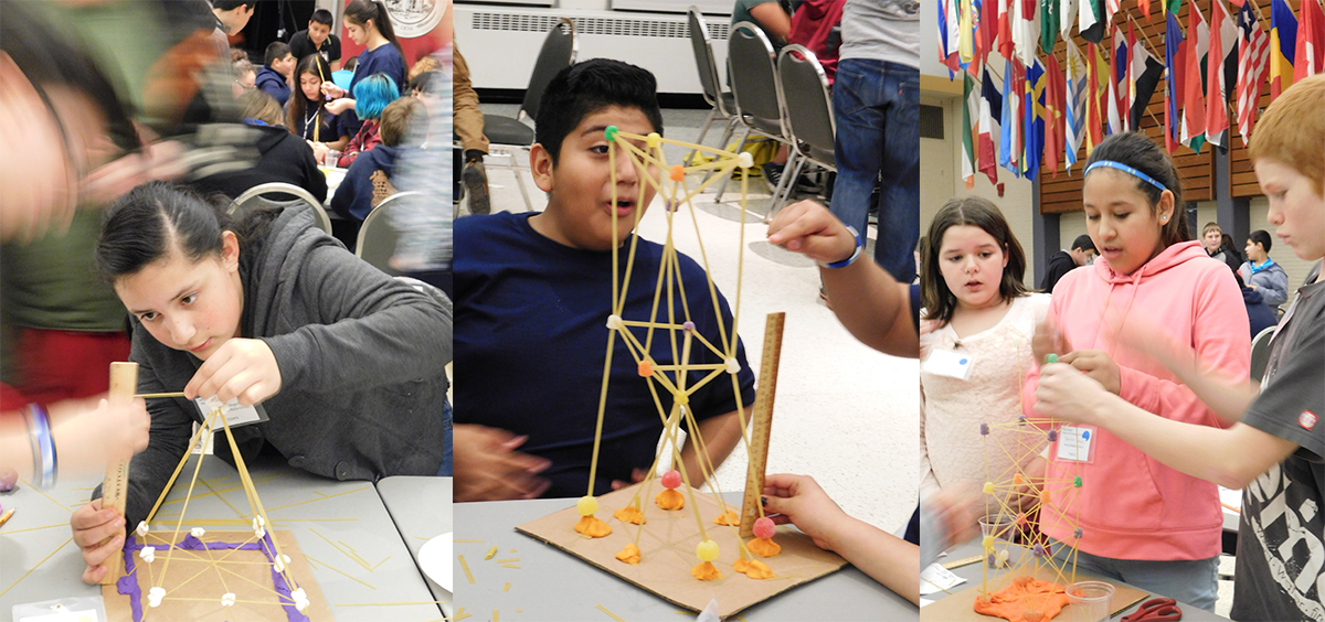 middle school students building structures from pasta and candy at the challenge event