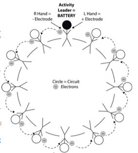 A diagram showing how students can act out a simple electric circuit.