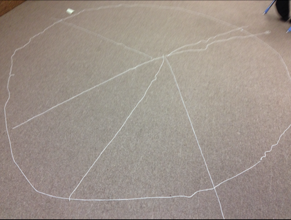 A pie graph drawn with chalk.