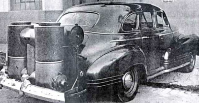 Gasifier installed on a vehicle during the 1940's.