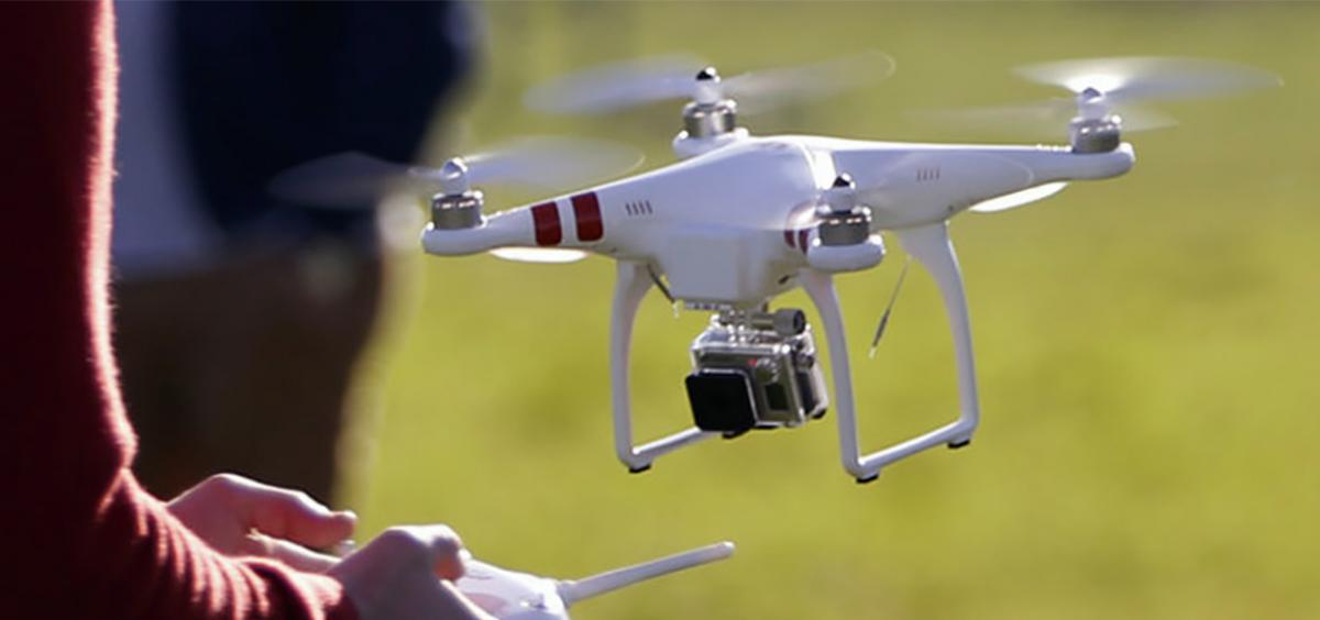 Drone being piloted by high school students