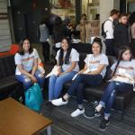 Students relax at Business Showcase