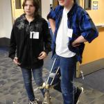 Students test their prosthetic leg design