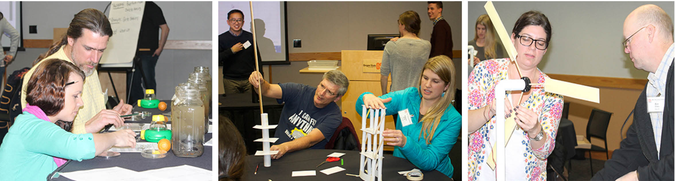 three images of teachers at a hands-on training learning about ponds, building structures and wind turbines